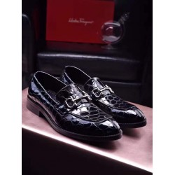 BLACK ANIMAL SKIN STYLE DRESS SHOE