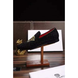 Black Varsace Loafers with Gold Embroidery