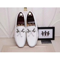 D & G White Leather Loafers