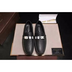 Gucci Black Loafers with White Buckle leather