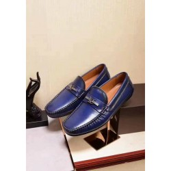 Louis Vuitton Blue Shiny Leather Loafers