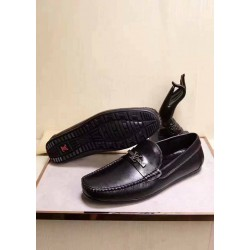 Louis Vuitton Simple Black Leather Loafers
