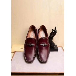 Louis Vuitton Wine Leather Loafers