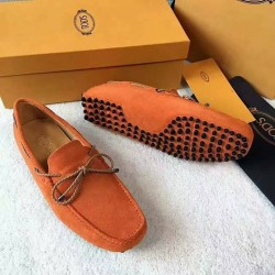 Tods Orange Suede Loafers