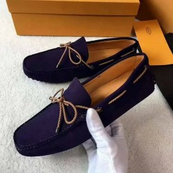 Tods Purple Suede Loafers