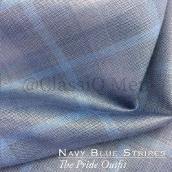 Navy blue striped fashion fabric (BY THE YARD)