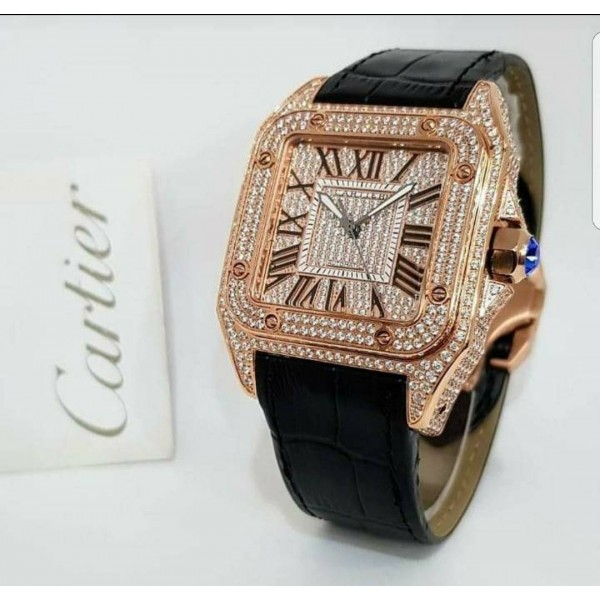 Cartier santos 100 diamond leather watch
